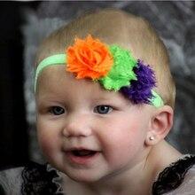 TWDVS Halloween Style 3 Flower Hair Band Chiffon Headband Kids Elasticity Hair Accessories W143