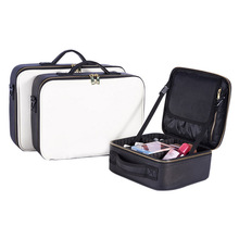 PU Partition Makeup Organizer Crossbody Makeup Bags Tote Toiletry Cosmetic Bag Multilayer Storage Box Portable Pretty Suitcase недорого