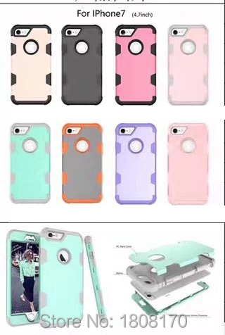 Deluxe Hybrid Armor Hard Soft TPU PC Case For Samsung Galaxy S8 Iphone 7 Plus I7 6 6S Fashion Dual Layer Tone Phone Cover 50pcs
