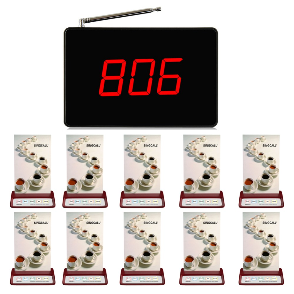 SINGCALL Wireless restaurant pager system,beeper service ,1 black fixed receiver and 10 red buttons calling waiters singcall wireless calling system patient alarm system emergency sound and light alarm small caregiver receiver with two buttons
