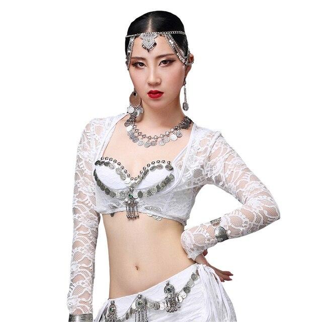 536eac4364b820 New Sexy Belly Dance Bolero Lace Top Women Dancewear Accessories Long  Sleeves Blouse