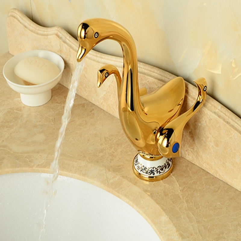 все цены на Wholesale And Retail Polished Golden Brass Bathroom Duck Faucet Vanity Sink Mixer Tap Duck Handles Mixer Tap Deck Mounted
