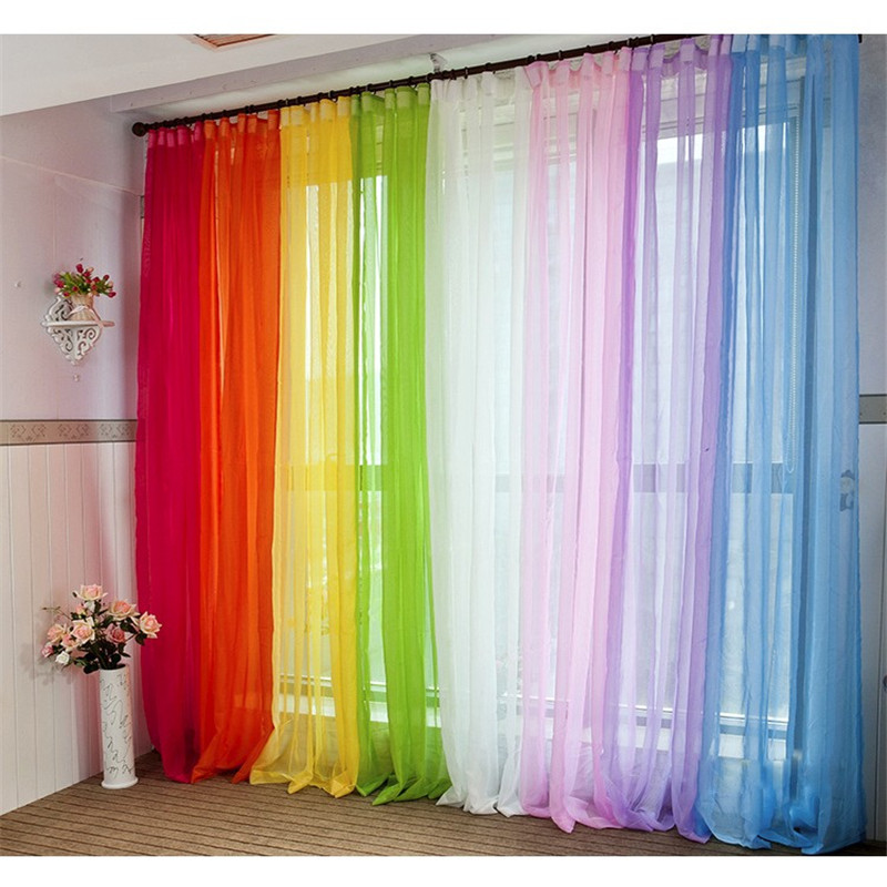 200*100 Cm Solid Color Chiffon Curtains Tulle Curtains Bathroom Shower  Curtains Window Panel Bedroom