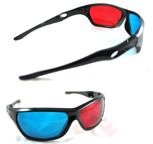 2015 CPAM Free+10pcs/lot Re-useable sport Style 3D glasses/Plastic Black Frame 3D glasses/Red blue 3D glasses for Titanic