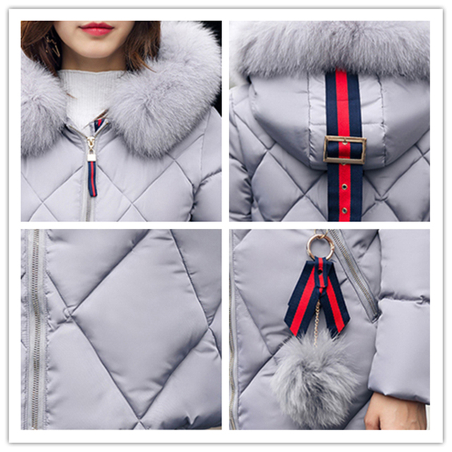 Big fur winter coat thickened parka women stitching slim long winter coat down cotton ladies down parka down jacket women 2017 4