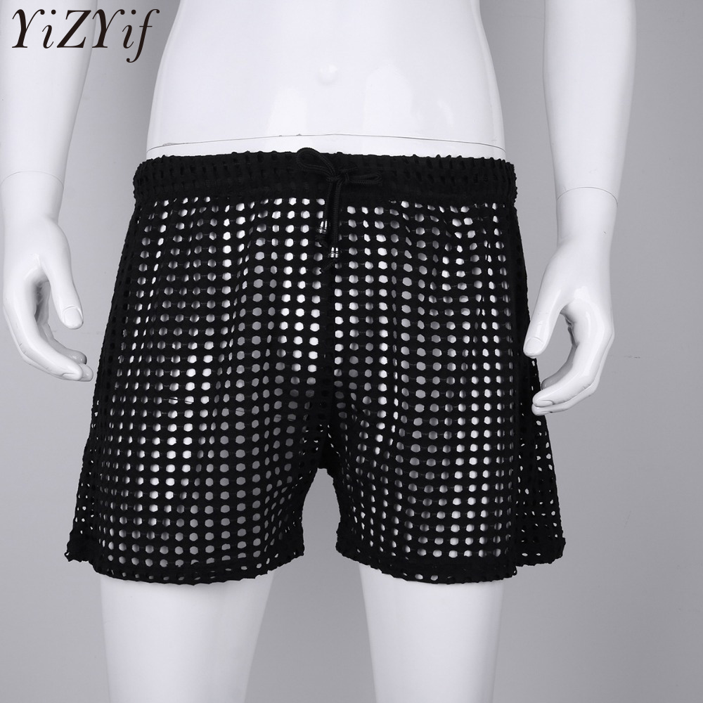 YiZYiF Men Sexy Grid Fishnet Transparent Shorts Fashion Loose Lounge Boxer Sleep Bottoms See Through Pajama Hollow Out Shorts