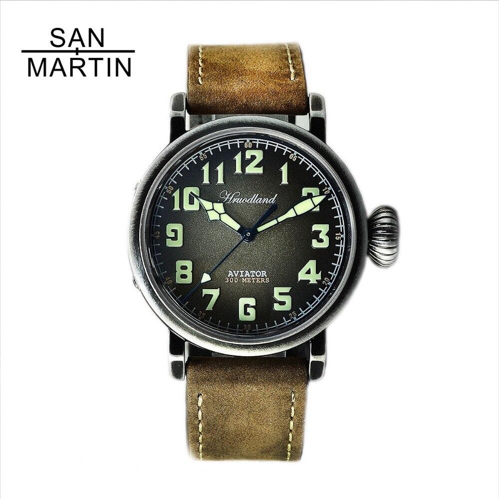 Сан Мартин новый для мужчин пилот Ретро часы нержавеющая сталь дайвинг часы 300 м водостойкий Швейцарский Move t наручные сапфировое стекло