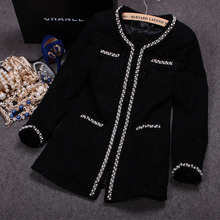 sizzling promote ! spring 2016 new luxurious small aromatic tweed pearl lengthy wool coat jackets