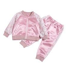 2 piezas de bebé niñas de encaje de color rosa conjuntos de ropa de otoño infantil  trajes de algodón de la cremallera chaquetas . e8f03c3caff