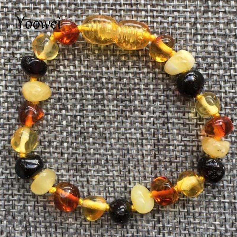 Yoowei Детские янтарный браслет прорезывания зубов/Цепочки и ожерелья для Обувь для маль ...