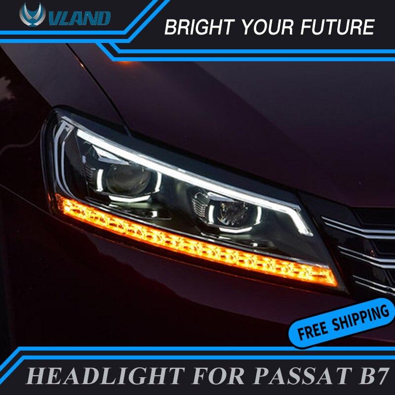 2 pièces Auto Feux Avant pour Volkswagen Passat B7 Phares 2011-2015 Amérique Passat DRL Lentille Xénon Tête de Lampe