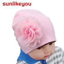Sunlikeyou New Spring Baby Girl Hat For Kids Newborn Caps Cotton Soft Elasticity Toddler Flower Beanie Bonnet Warm