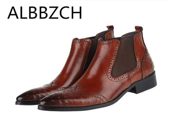 Ostrich Pattern Genuine Leather Ankle Boots Men Wedding Dress Shoes Men's Chelsea Business Work Boots Fashion Trend Short Boots