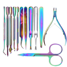BORN FUNKSJONER Rainbow Chameleon Nail Art Cuticle Pusher Cutter Nipper Clipper Død Skin Remover Tweezer Manicure Nail Art Tool