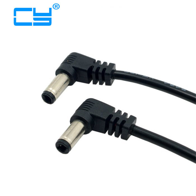 60cm DC Power 5.5 X 2.1mm / 2.5mm Male To 5.5 2.1/2.5mm Male Plug  Right Cable Angled 90 Degree