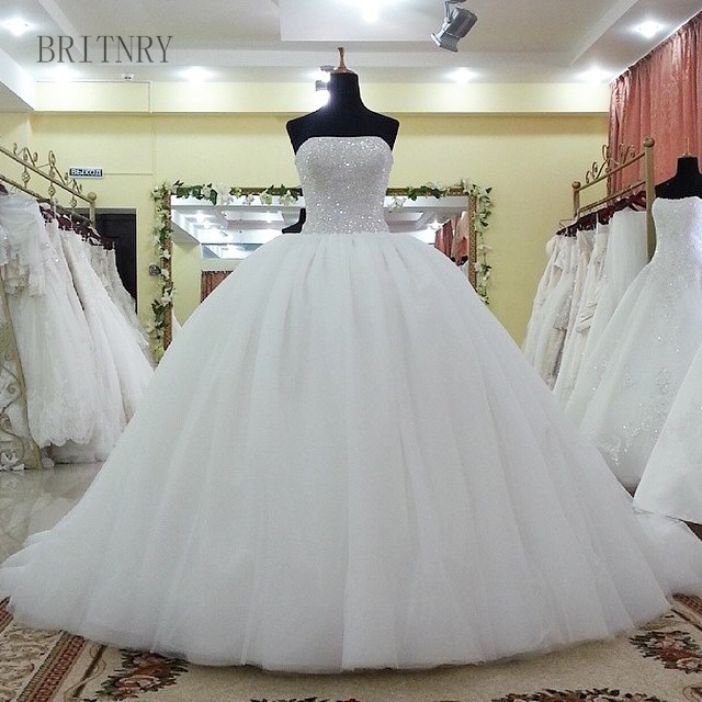 Wedding Gown Tops: BRITNRY Strapless Simple Wedding Dress Beaded Crystal Tops