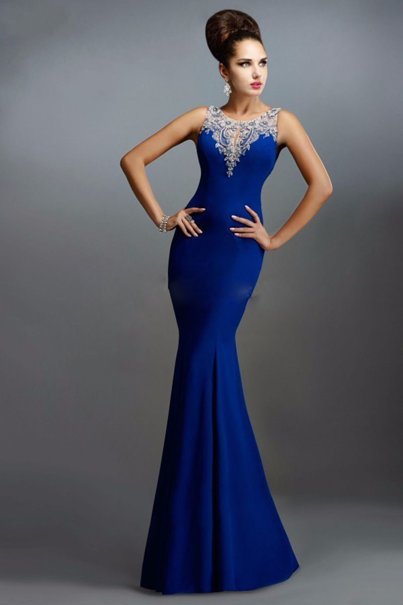 2017 Classical Royal Blue Evening Dress Long Satin Back See Through ...