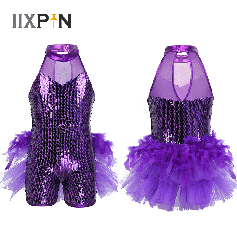 Girls Sequins Jazz Latin Ballet Dance Costume Leotard Jumpsuit Kids Sleeveless Mock Neck Shiny Jazz Costume Feather Costumes