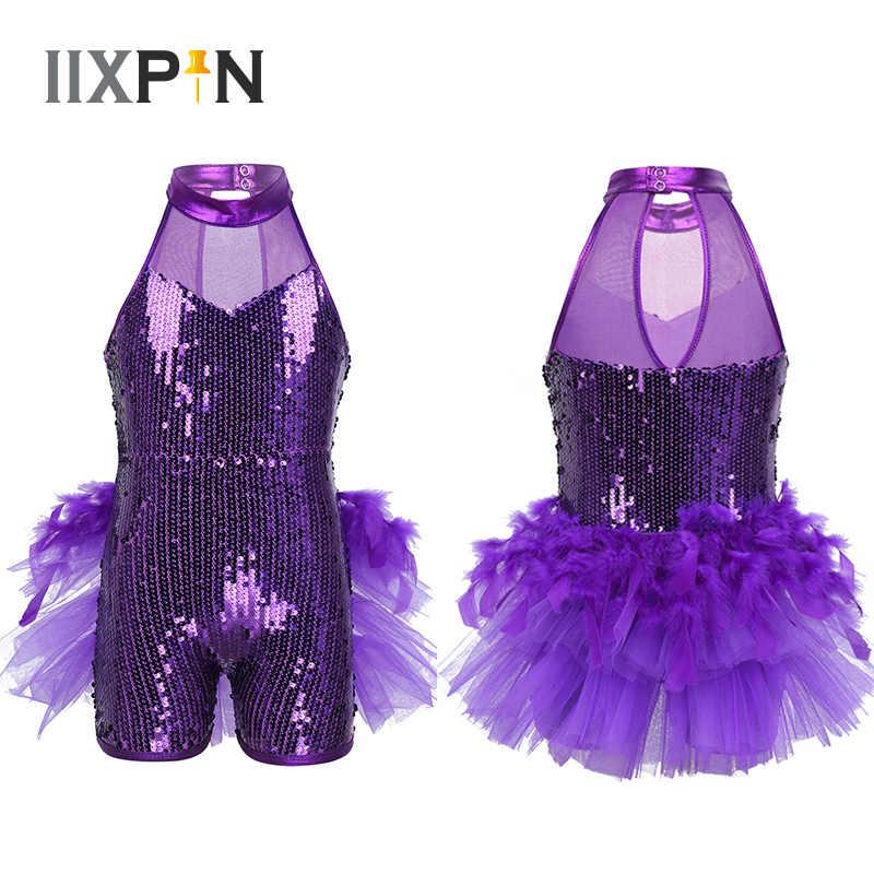 Mädchen Pailletten Jazz Latin Ballett Tanz Kostüm Trikot Overall Kinder Sleeveless Mock Neck Shiny jazz Kostüm Feder Kostüme