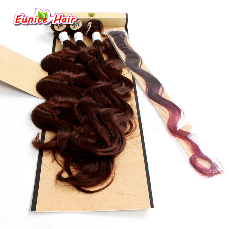 Two Tone Ombre Synthetic body wave Hair Weft With Closure And Clip Hair Rainbow Synthetic Body Wave Hair 4 Bundles Ombre Brown