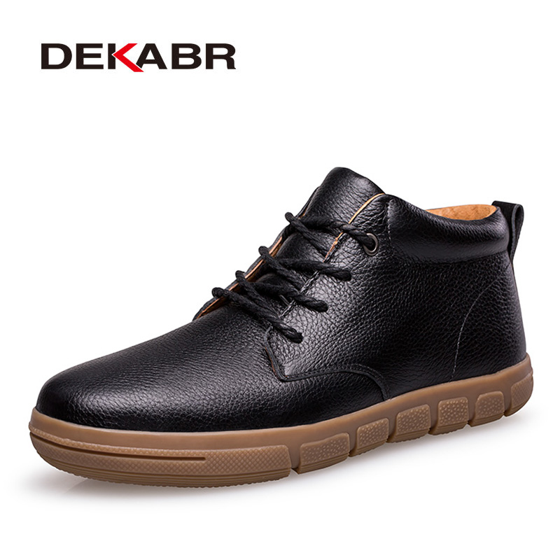DEKABR 2018 Winter Men Boots Plus Fur Warm Ankle Boots Brand Men Snow Boots Men Genuine Leather Casual Shoes Big Plus Size 38~47 cimim brand new fashion genuine leather boots men ankle boots casual warm winter snow warm fur boots men shoes plus size 39 50