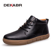 DEKABR Winter Men Boots Plus Fur Warm Ankle Boots Brand Men Snow Boots Men Genuine Leather