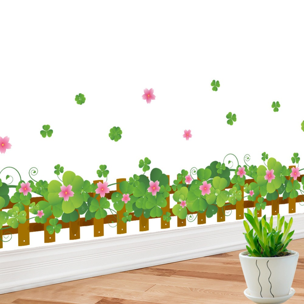 % spring colorful flower grass butterfly Clover Skirting Line Flora diy home decal wall sticker Furniture kitchen wedding mural