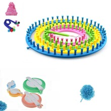 8 Pcs/set DIY Knitting Tool Set Round Knitter Looms Ring Yarn Needle Sock Scarf Hat Maker Children  Ball Weave Loom