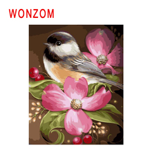 WONZOM Flower Painting By Numbers Abstract Animal Oil Bird Cuadros Decoracion Acrylic Paint On Canvas Modern Art Gift