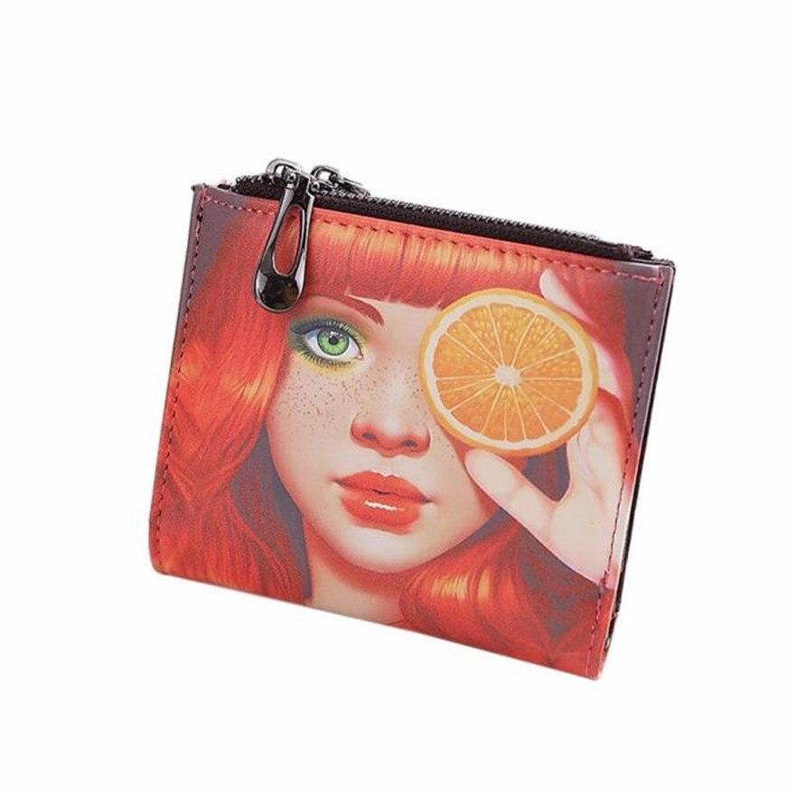 Fashion New Brand Women Vintage Lemon Girl Coin Clip Purse High Quality Zipper Short Wallet Cute Clutch Handbags wallets women S