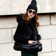 High quality women duck down vest knitted pachwork raccoon fur hooded waistcoat winter warm fur coat for lady jacket