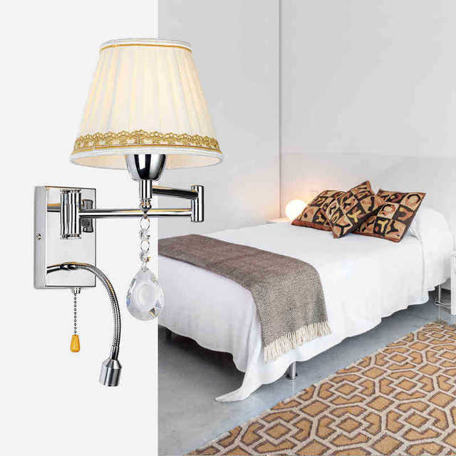 Crystal bedside wall lamp 3w led reading light lamp plumbing hose crystal bedside wall lamp 3w led reading light lamp plumbing hose rocker swing arm bedroom wall mozeypictures Gallery