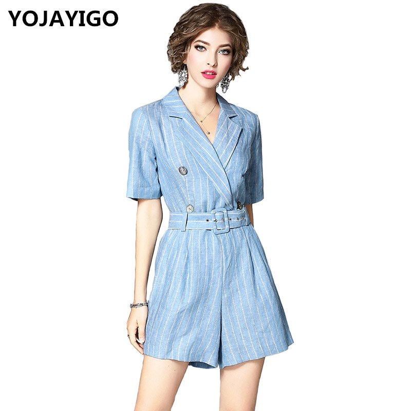 YOJAYIGO New 2017 Fashion Women Jumpsuits,White And Sky Blue Striped Linen Slim Loose Casual Short jumpsuit Pants With A Belt