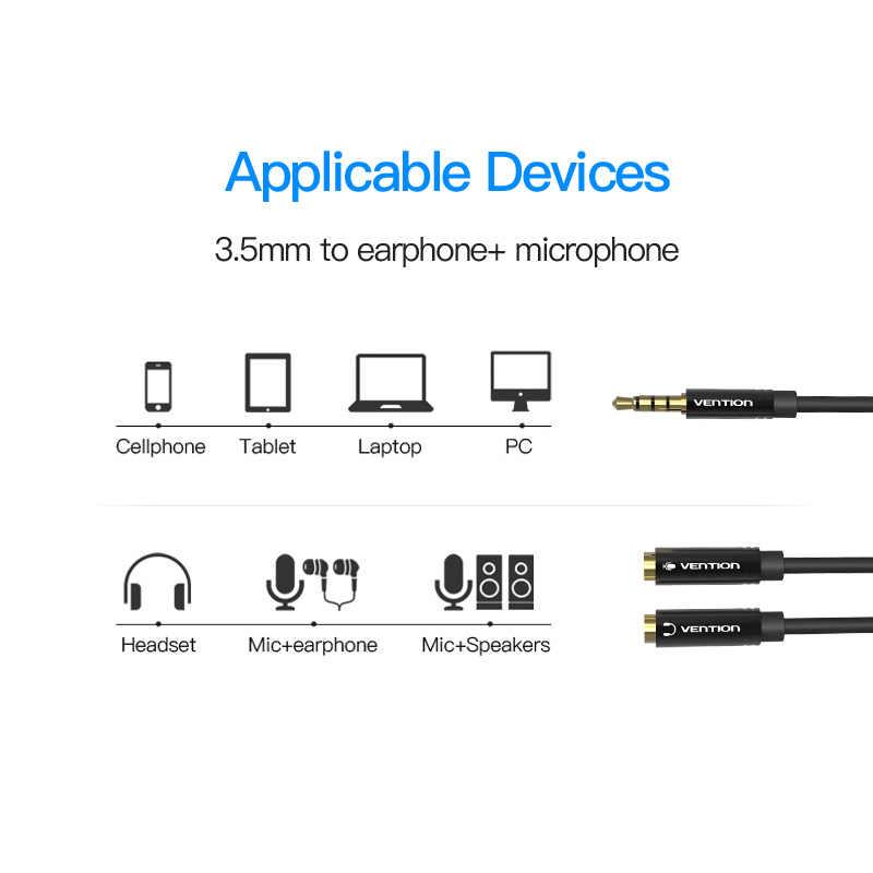 Vention кабель-удлинитель для наушников 3,5 мм аудио кабель папа-2 Женский Разъем 3,5 мм разделитель для наушников Aux кабель для iPhone 8 Mic PC