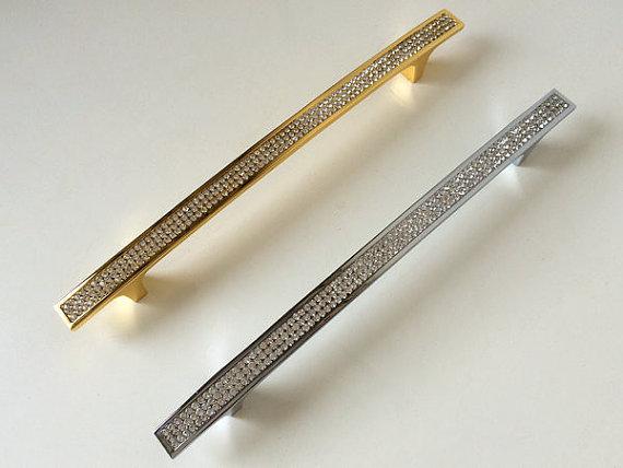 """7.56 """"192mm Grande Cristal Rhinestone De Vidro Da Cozinha Puxadores Alças Dresser Gaveta Puxa Porta Do Armário Móveis Puxar Hardware"""
