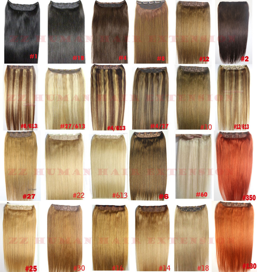 "16""-32"" 1pcs Set Single Hairpieces 100% Brazilian Remy Hair Clips In/on Human Hair Extensions Double Weft 70g-220g"