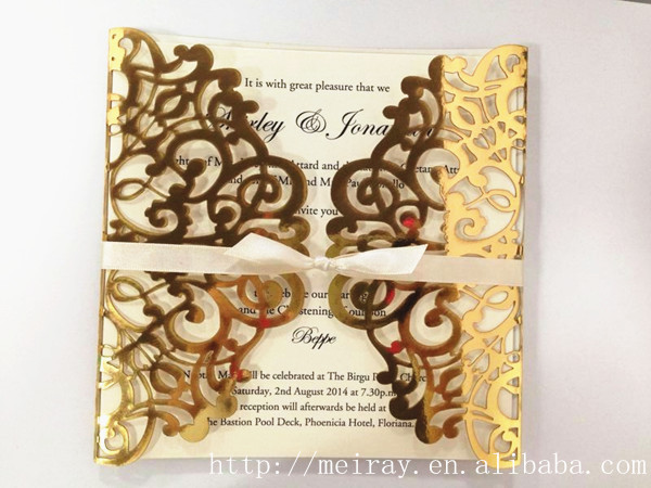 wholesale invitation for marriage laser cut gold wedding invitations ...