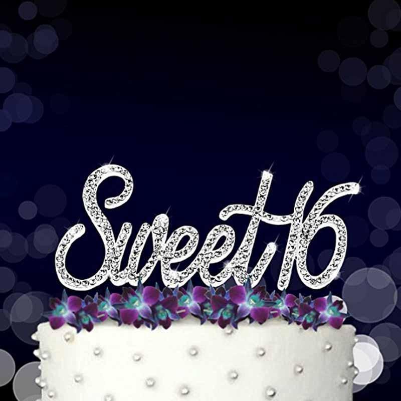 Superb Gold Silver Rhinestones Sweet 16 Cake Topper Boy Girl 16Th Funny Birthday Cards Online Benoljebrpdamsfinfo
