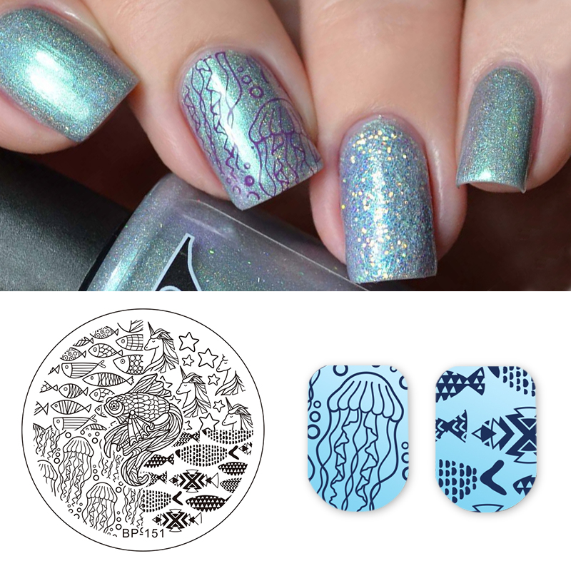 Born Pretty Stamping Plate Fish Sea Horse Star Nails Art