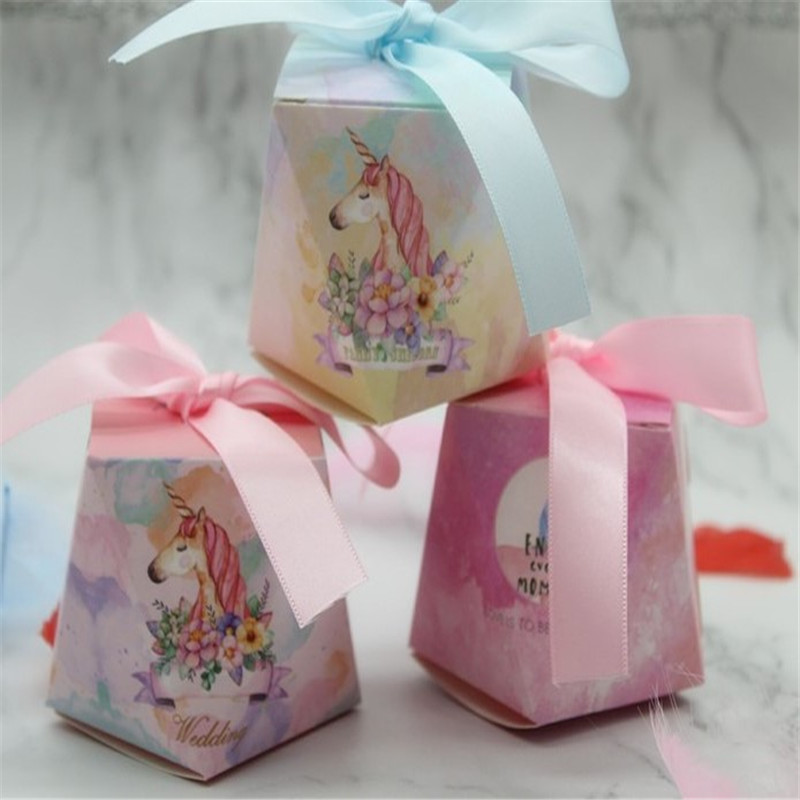 10Pcs Flamingo/Unicorn/Deer Candy Box Happy Birthday Baby Shower Party Decorations Unicorn Party Gifts Box Party Supplies.Q