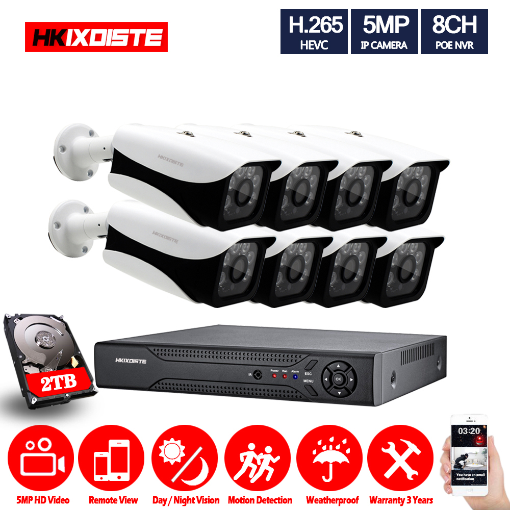 8CH POE IP Camera CCTV System Set 5.0MP In/Outdoor Waterproof PoE IP Camera IR Night Vision Video Security Surveillance Kits
