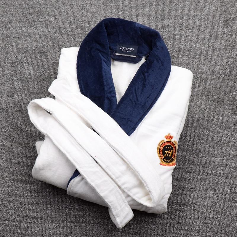 Winter thickening Men Bathrobe Plus Size 3XL Pajamas Pyjamas Towel Fleece Robe Warm Lengthen Male Dressing Gown Mens Night Robes