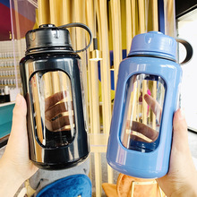 680ml/880ml Hot Selling Sport Style Glass Water Bottle With Protective Case Outdoor Bike tourism Bottles High Quality