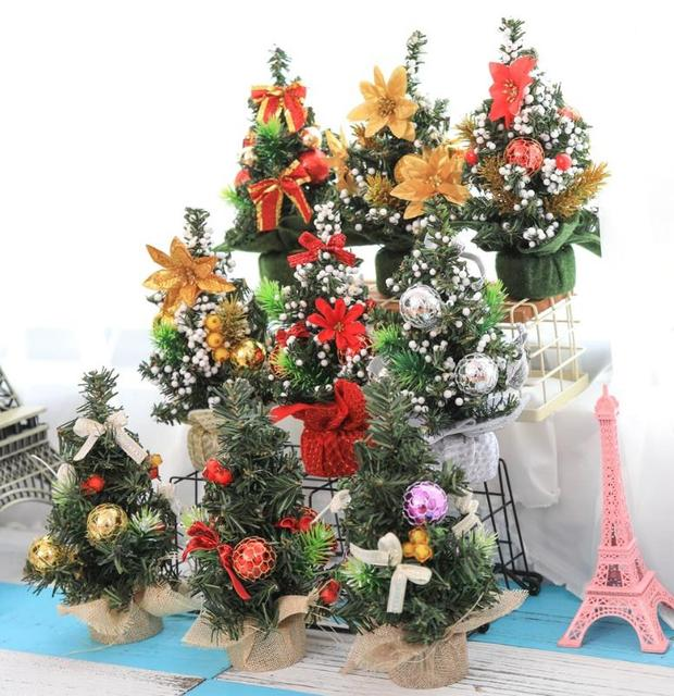Us 209 7 10 Off Christmas Trees Party New Year Table Decorative Pine Tree Home Decoration Mini Xmas Tree With Pendants Festive Events Supplies In