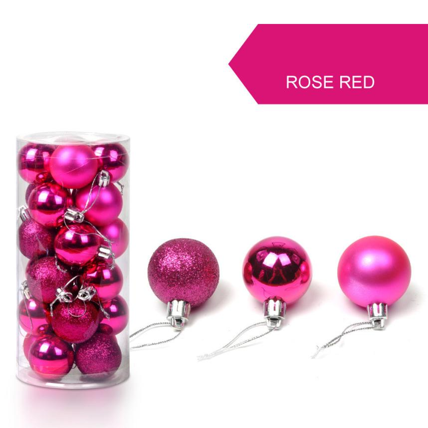 24pcs/lot 30mm Modern Christmas Tree Decor Ball Bauble Hanging Xmas Party Ornament Home Christmas Decoration Supplies 12 Colors