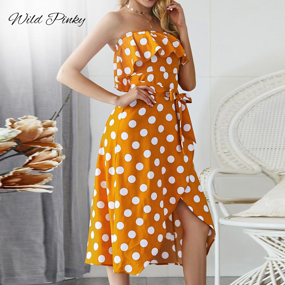 WildPinky Polka Dot Dress For Women Summer Strapless Midi 2019 Vintage Cute Off Shoulder Ruffle A-line Vestidos