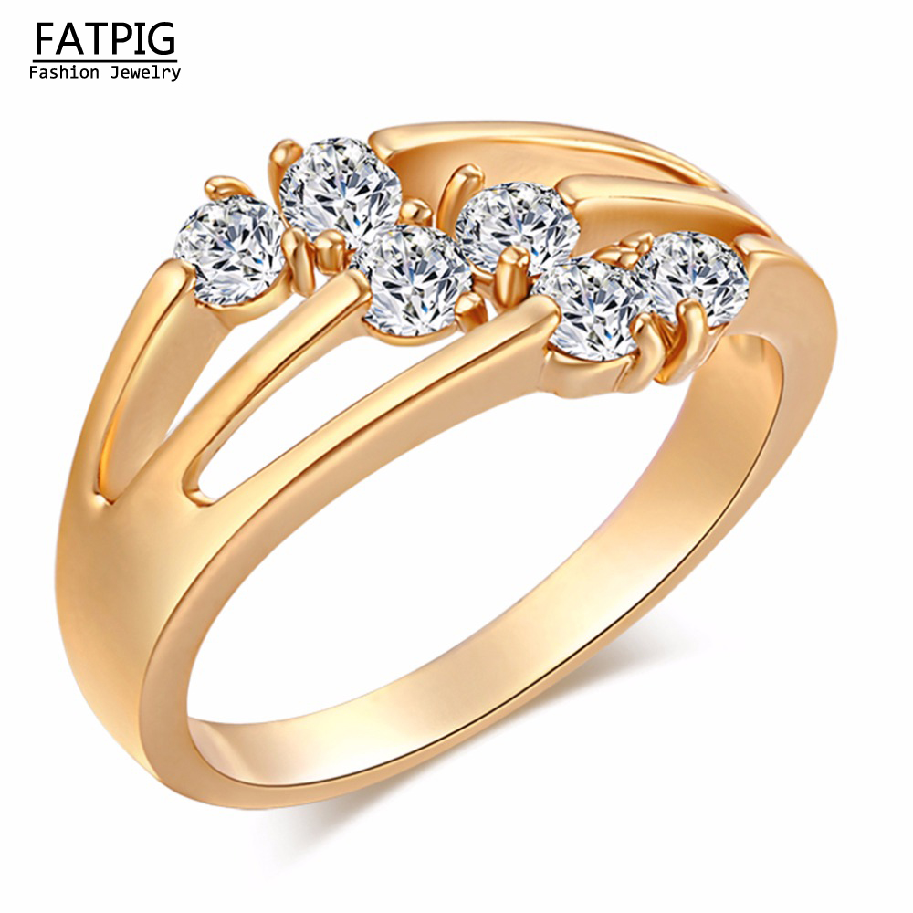 new cherry shape high quality rings aaa zircon gold color