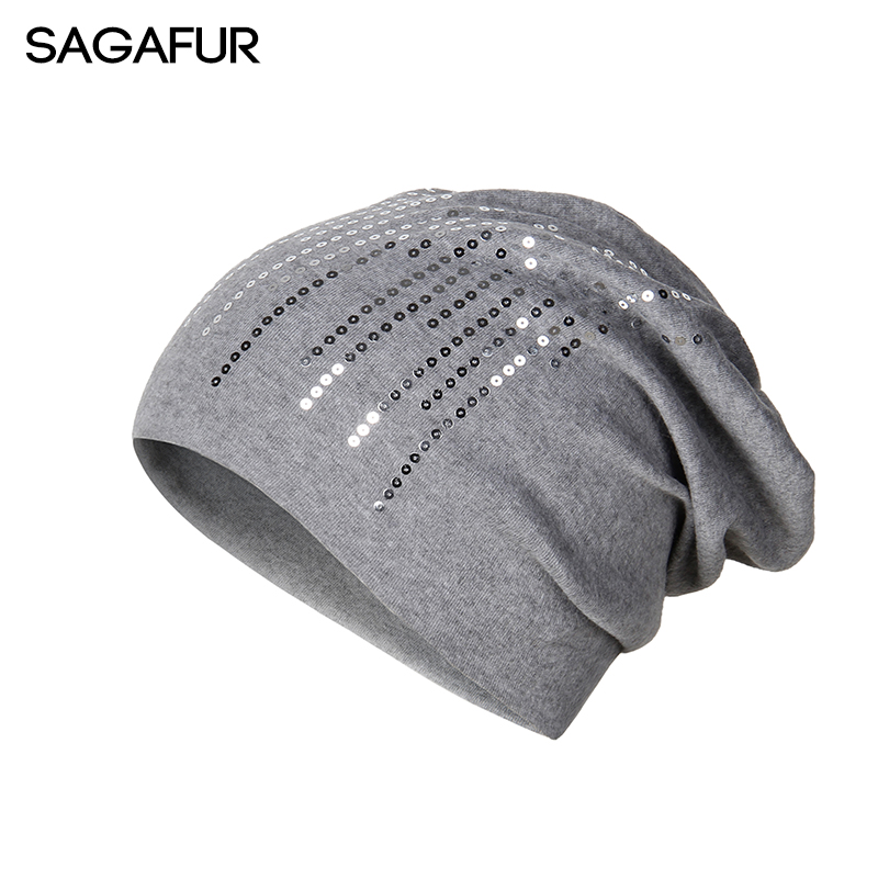Elegant Knitted Hat Women's Winter Cap Wool Blend Shine Sequin Beanies For Lady Fashion Causal Autumn Slouchy Hat Female Bonnet