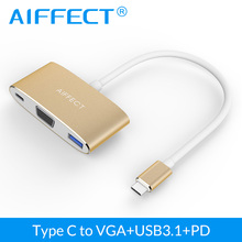 AIFFECT USB 3.1 Type-C To VGA USB3.1 Type C Adapter 3 in 1 HUB Male To Female Converter Hub PD Charging Port For Apple Air Pro
