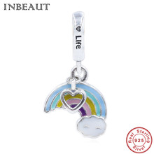 Cute Rainbow Beads fit Trendy DIY Bracelet 925 Sterling Silver Colorful Enamel Love Life Heart Charm Pendant for Necklace&Chain new diy 925 sterling silver heart carved high technology cute small robot charm beads fit trendy bracelet for women anniversary